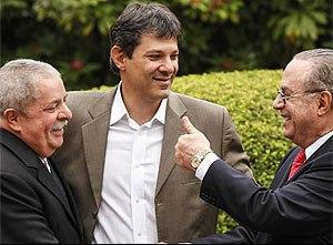 Lula com Haddad e Maluff em campanha pela Prefeitura de São Paulo